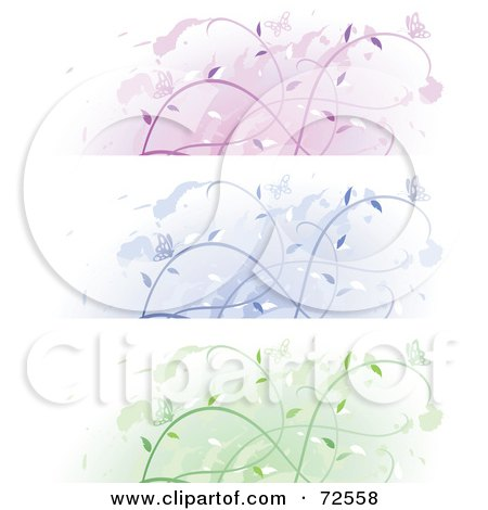 Royalty-Free (RF) Clipart Illustration of a Digital Collage Of Purple, Blue And Green Floral Vine And Butterfly Banners by cidepix