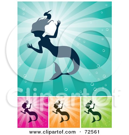 Royalty-Free (RF) Clipart Illustration of a Digital Collage Of Silhouetted Mermaids On Shining Backgrounds by cidepix
