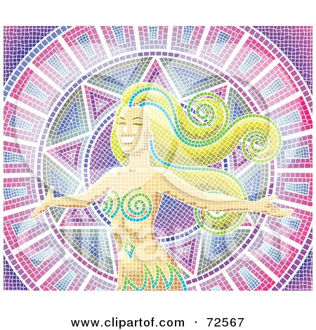 Royalty-Free (RF) Clipart Illustration of a Mosaic Woman With Long Hair Over Purple, Pink And White by cidepix