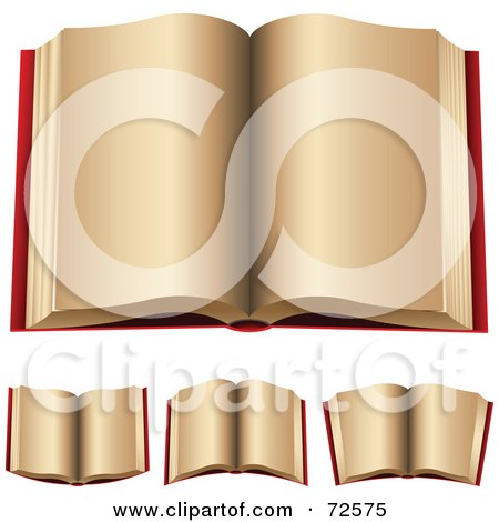 Royalty-Free (RF) Clipart Illustration of a Digital Collage Of 3d Red Open Books With Beige Pages by cidepix
