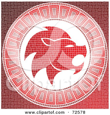 Red Leo Horoscope Mosaic Tile Background Posters, Art Prints