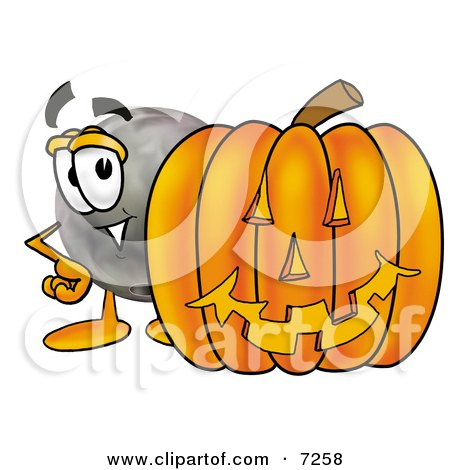Clipart Picture of a Bowling Ball Mascot Cartoon Character With a Carved Halloween Pumpkin by Toons4Biz