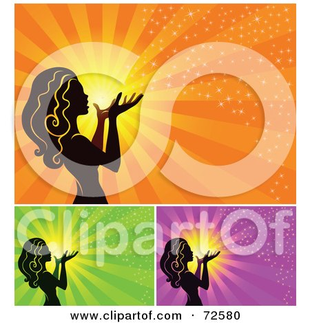 Royalty-Free (RF) Clipart Illustration of a Digital Collage Of A Silhouetted Woman Blowing Magic Dust Out Of Her Hand Against A Sun by cidepix