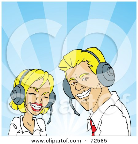 Royalty-Free (RF) Clipart Illustration of a Friendly Blond Man And Woman Wearing Headsets And Smiling by cidepix