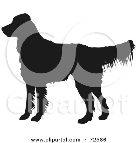 Royalty-Free (RF) Clipart Illustration of a Dark Brown Golden Retriever Dog Silhouette by pauloribau