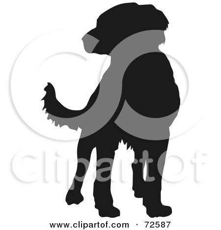 Royalty-Free (RF) Clipart Illustration of a Dark Brown Labrador Dog Silhouette by pauloribau