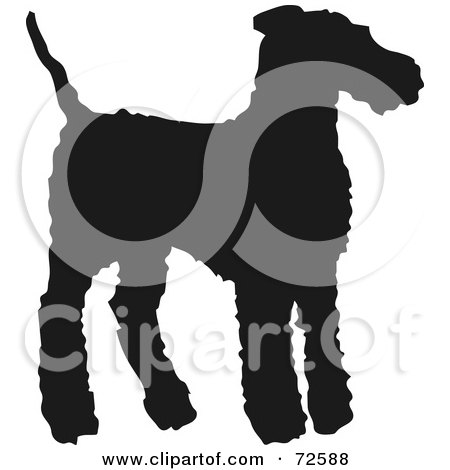 Royalty-Free (RF) Clipart Illustration of a Dark Brown Airedale Terrier Dog Silhouette by pauloribau
