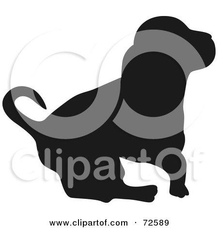 Royalty-Free (RF) Clipart Illustration of a Dark Brown Hound Dog Silhouette by pauloribau