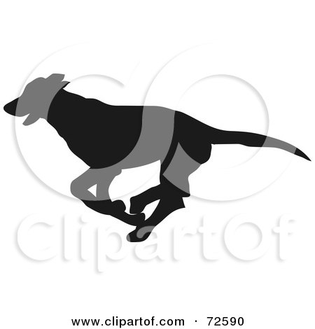Royalty-Free (RF) Clipart Illustration of a Dark Brown Greyhound Dog Silhouette by pauloribau
