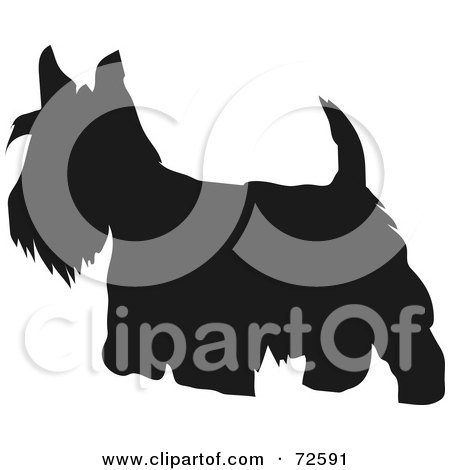 Royalty-Free (RF) Clipart Illustration of a Dark Brown Scottish Terrier Dog Silhouette by pauloribau
