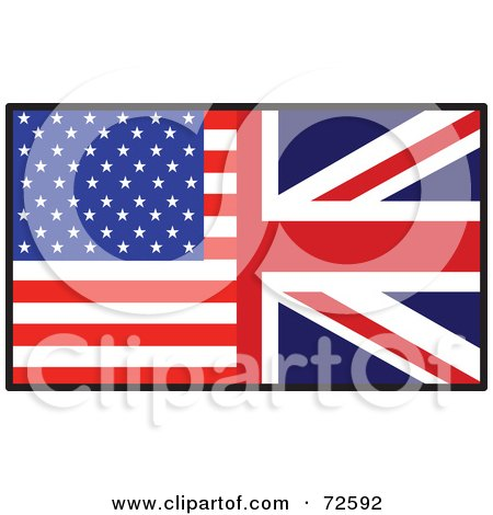 Royalty-Free (RF) Clipart Illustration of a Half American, Half British Flag by Maria Bell