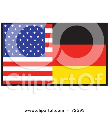 Royalty-Free (RF) Clipart Illustration of a Half American, Half German Flag by Maria Bell