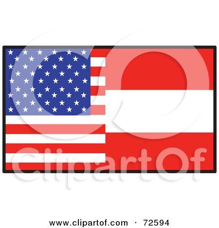 Royalty-Free (RF) Clipart Illustration of a Half American, Half Austrian Flag by Maria Bell