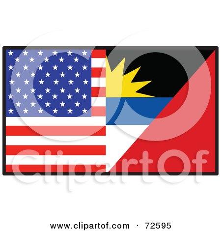 Royalty-Free (RF) Clipart Illustration of a Half American, Half Antiqua Barbuda Flag by Maria Bell