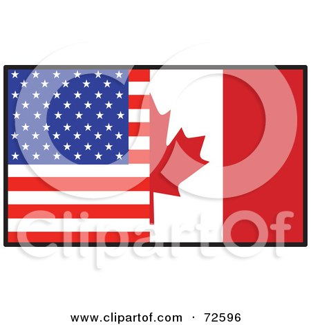Royalty-Free (RF) Clipart Illustration of a Half American, Half Canadian Flag by Maria Bell