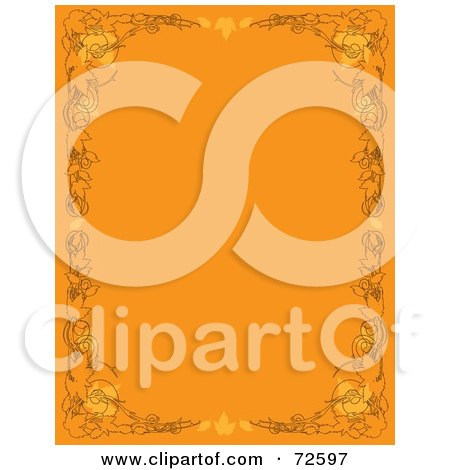 Royalty-Free (RF) Clipart Illustration of an Orange Vertical Background With Autumn Borders by Maria Bell
