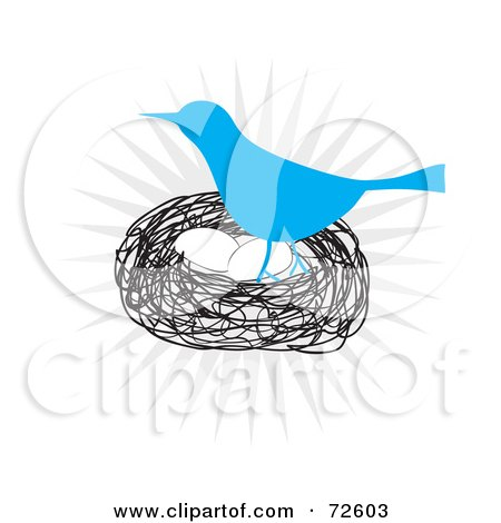Royalty-Free (RF) Clipart Illustration of a Blue Bird Standing Over Eggs In A Nest by Arena Creative
