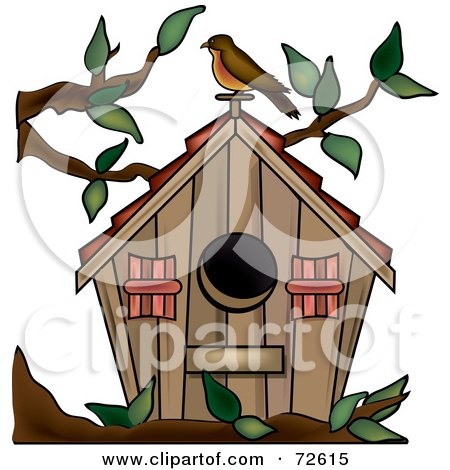 Clipart of a Purple Bird House with Swirls - Royalty Free Vector ...