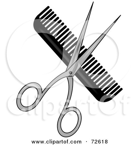 Royalty-Free (RF) Clipart Illustration of a Pair Of Shears Over A Black Comb by Pams Clipart