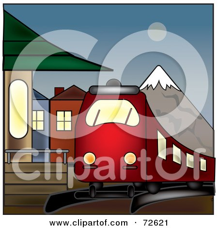 Royalty Free RF Clipart Illustration Of A Red Train At A Train Station Near Mountains