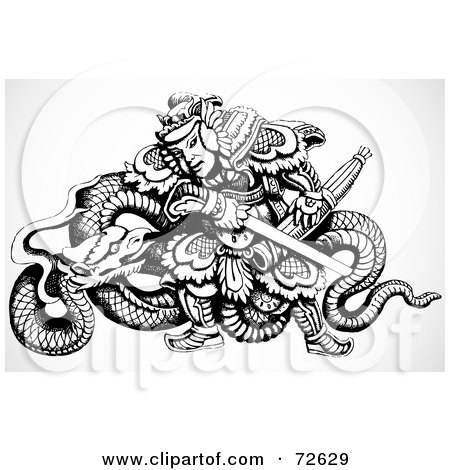 Royalty-Free (RF) Clipart Illustration of a Black And White Chinese Warrior With A Dragon And Sword by BestVector