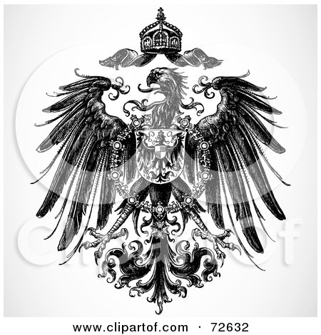 Royalty-Free (RF) Clipart Illustration of a Black And White Royal Heraldic Eagle And Crown Design Element by BestVector