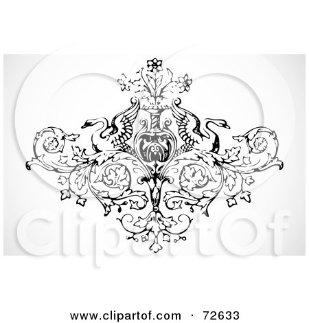 Royalty-Free (RF) Clipart Illustration of a Black And White Ornamental Vintage Swan And Vase Design by BestVector