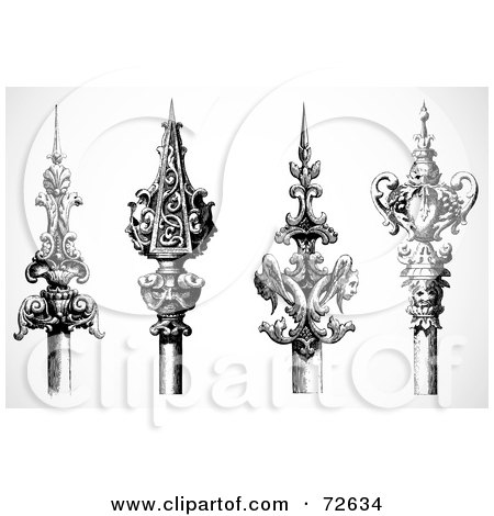 Royalty-Free (RF) Clipart Illustration of a Digital Collage Of Four Black And White Ornamental Spears by BestVector