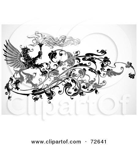 Royalty-Free (RF) Clipart Illustration of a Black And White Phoenix And Torch Floral Vine Element by BestVector