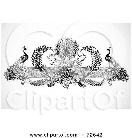 Royalty-Free (RF) Clipart Illustration of a Black And White Peacock And Floral Border by BestVector