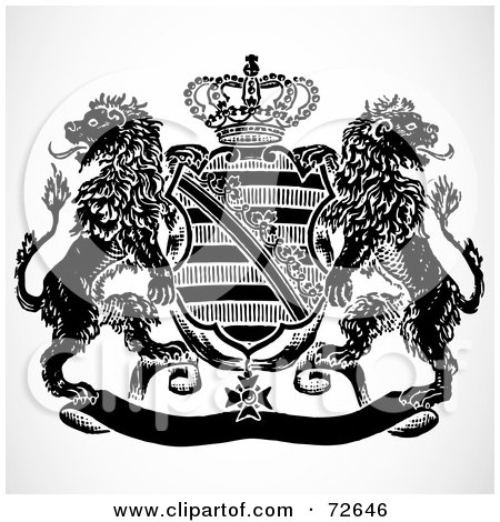 Royalty-Free (RF) Clipart Illustration of a Black And White Shield And Crown Crest With Lions by BestVector