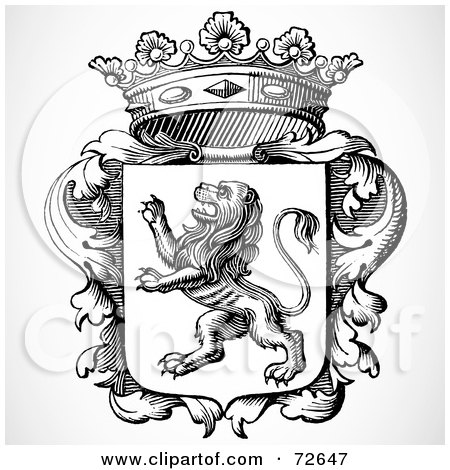 Royalty-Free (RF) Clipart Illustration of a Black And White Lion Shield With Leaves And A Crown by BestVector