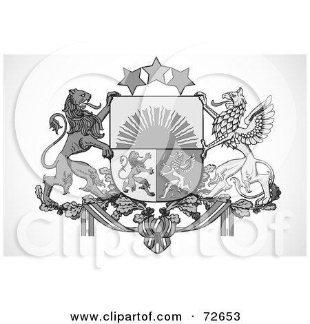 Royalty-Free (RF) Clipart Illustration of a Black And White Griffin Crest by BestVector