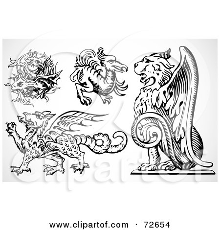 Royalty-Free (RF) Clipart Illustration of a Digital Collage Of Black And White Griffins by BestVector