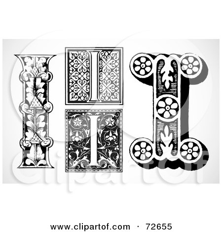 Royalty-Free (RF) Clipart Illustration of a Digital Collage Of Black And White Letters; I - Version 1 by BestVector