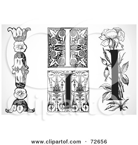 Royalty-Free (RF) Clipart Illustration of a Digital Collage Of Black And White Letters; I - Version 3 by BestVector