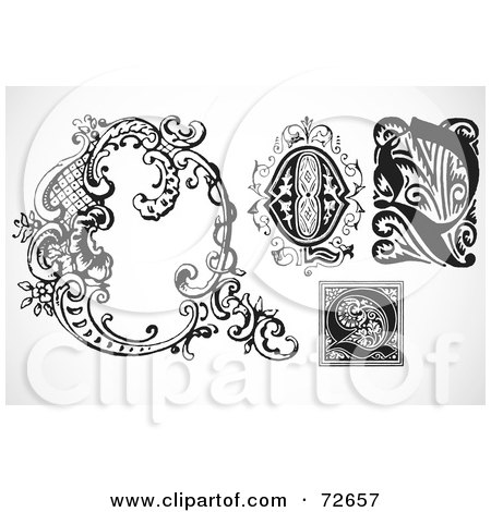 Royalty-Free (RF) Clipart Illustration of a Digital Collage Of Black And White Letters; Q - Version 3 by BestVector