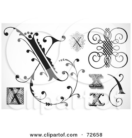 Royalty-Free (RF) Clipart Illustration of a Digital Collage Of Black And White Letters; X - Version 3 by BestVector
