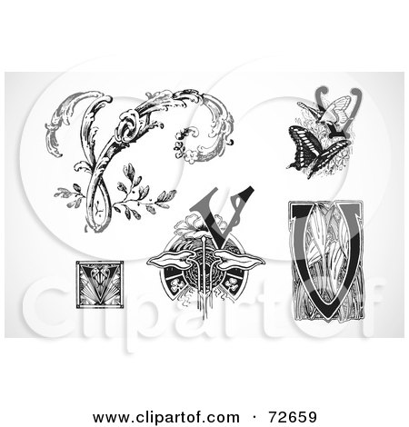 Royalty-Free (RF) Clipart Illustration of a Digital Collage Of Black And White Letters; V - Version 1 by BestVector