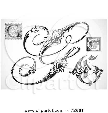 Royalty-Free (RF) Clipart Illustration of a Digital Collage Of Black And White Letters; G - Version 2 by BestVector
