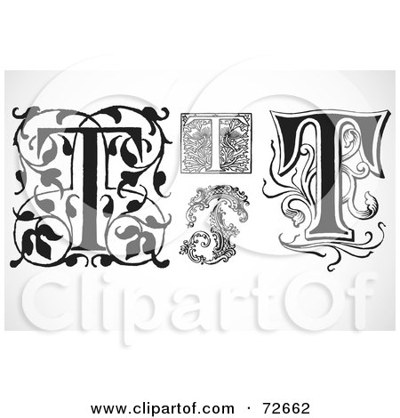 Royalty-Free (RF) Clipart Illustration of a Digital Collage Of Black And White Letters; T - Version 3 by BestVector