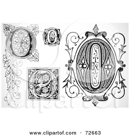 Royalty-Free (RF) Clipart Illustration of a Digital Collage Of Black And White Letters; O - Version 2 by BestVector