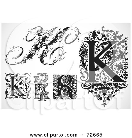 Royalty-Free (RF) Clipart Illustration of a Digital Collage Of Black And White Letters; K - Version 3 by BestVector