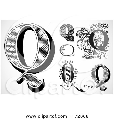 Royalty-Free (RF) Clipart Illustration of a Digital Collage Of Black And White Letters; Q - Version 1 by BestVector