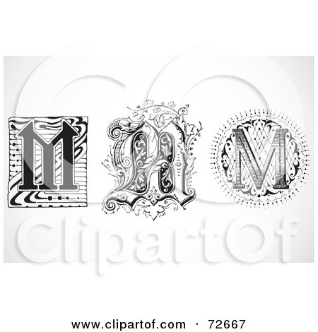 Royalty-Free (RF) Clipart Illustration of a Digital Collage Of Black And White Letters; M - Version 2 by BestVector
