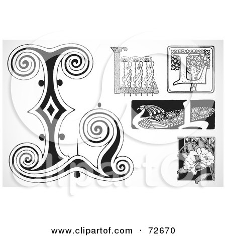Royalty-Free (RF) Clipart Illustration of a Digital Collage Of Black And White Letters; L - Version 2 by BestVector