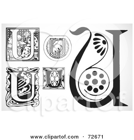 Royalty-Free (RF) Clipart Illustration of a Digital Collage Of Black And White Letters; U - Version 2 by BestVector