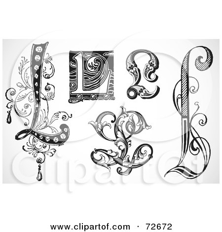 Royalty-Free (RF) Clipart Illustration of a Digital Collage Of Black And White Letters; L - Version 3 by BestVector