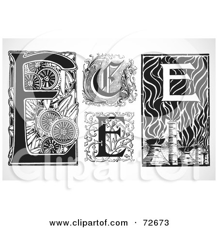 Royalty-Free (RF) Clipart Illustration of a Digital Collage Of Black And White Letters; E - Version 2 by BestVector