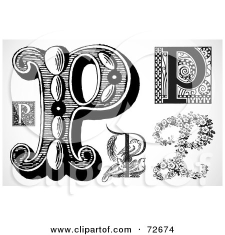 Royalty-Free (RF) Clipart Illustration of a Digital Collage Of Black And White Letters; P - Version 1 by BestVector